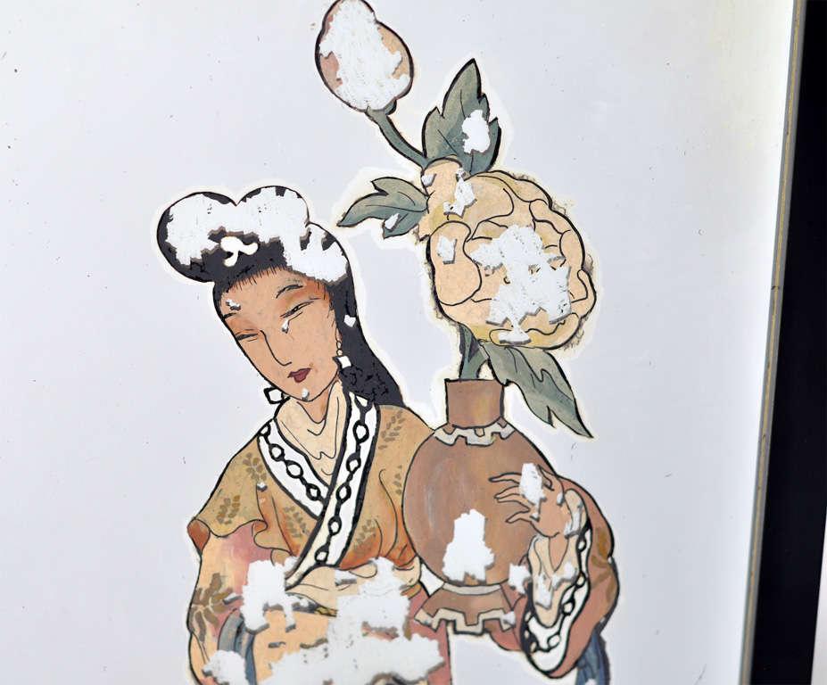 Antique Japanese Black Reverse Painted Mirror