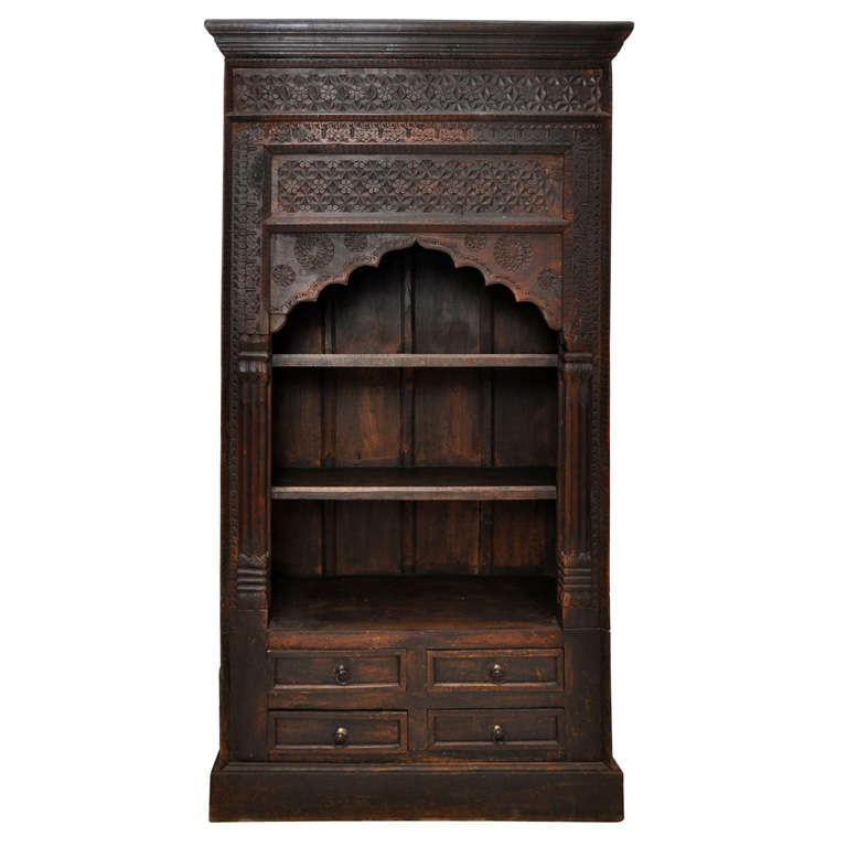 Antique Wooden Bookshelf ~ Antique indian hand carved bookcase at stdibs