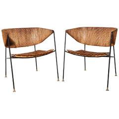 rare pair of Arthur Umanoff Lounge Chairs