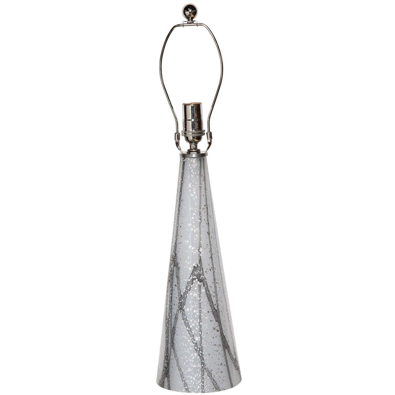 1960s Italian Modern Murano Shimmering White, Gray and Silvered Glass Table Lamp