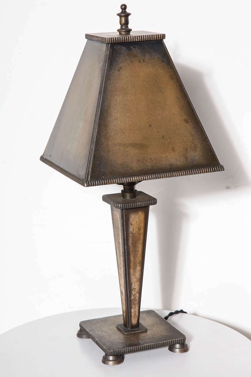 circa 1925 arts and crafts all bronze table lamp for sale. Black Bedroom Furniture Sets. Home Design Ideas