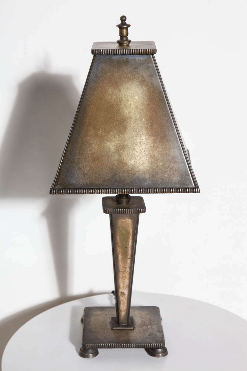circa 1925 arts and crafts all bronze table lamp for sale at 1stdibs. Black Bedroom Furniture Sets. Home Design Ideas