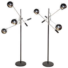 """pair of Robert Sonneman """"Orbiter"""" Floor Lamps"""