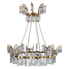 Pair of French Gilt Bronze and Crystal Chandeliers