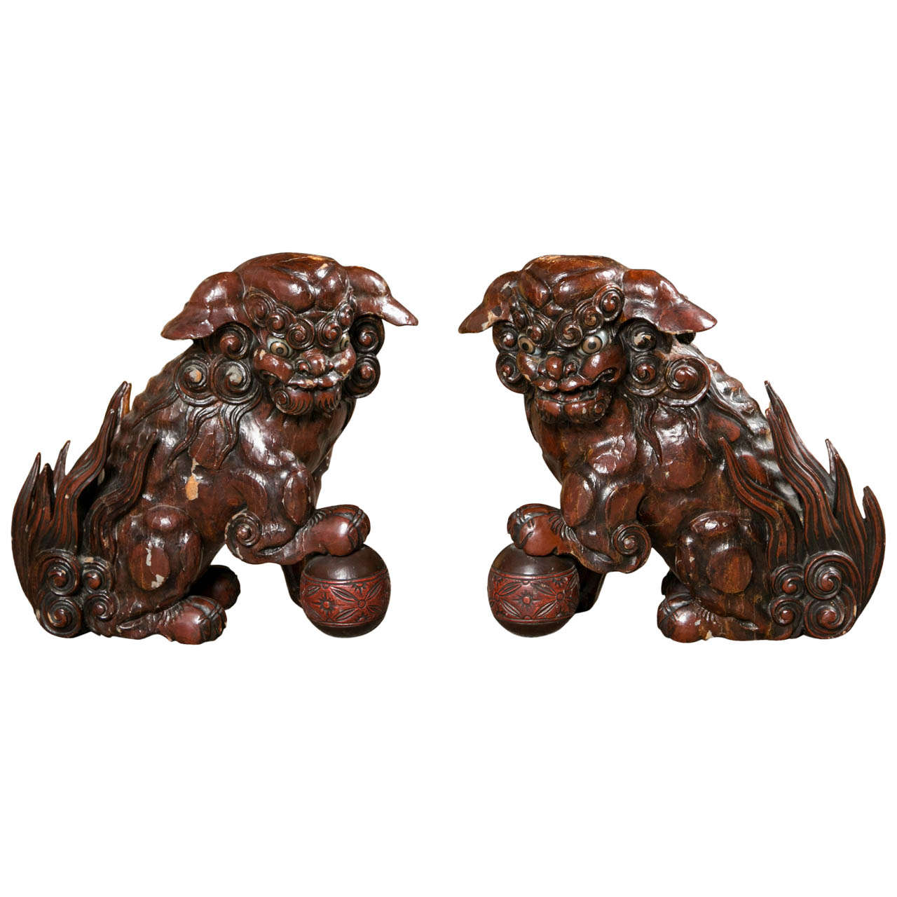 Pair of 19th Century Foo Dogs