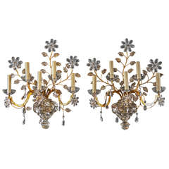 Five-Light Baguès Style Crystal Sconces