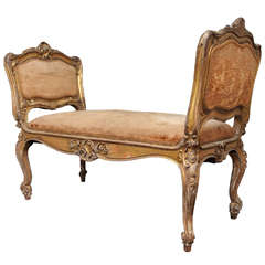 Italian Carved Wood and Gilded 19th Century Bench