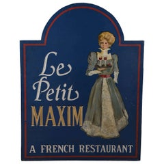 "19th Century ""Le Petit Maxim"" French Restaurant Sign"