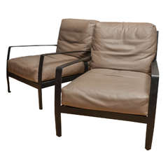 Pair of Italian Minotti Leather Upholstered Armchairs