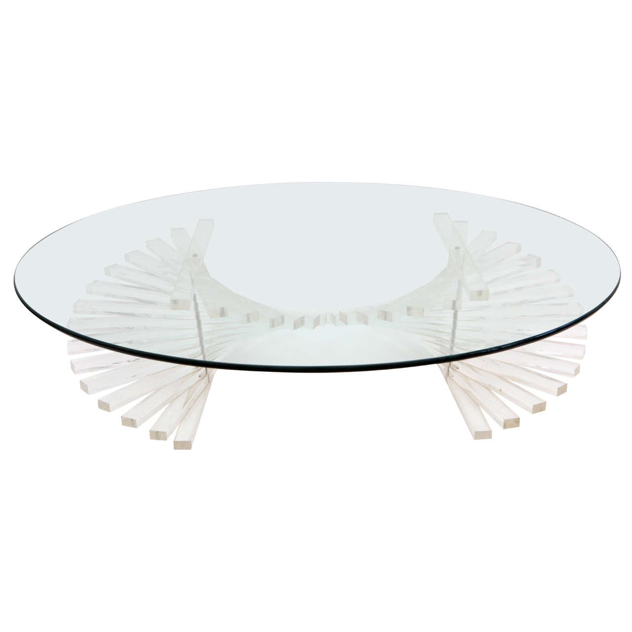 Stacked Spiral Lucite And Glass Coffee Table At 1stdibs