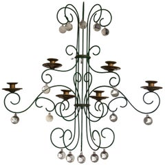 Large and Unique Scrolled Wire Candle Sconce