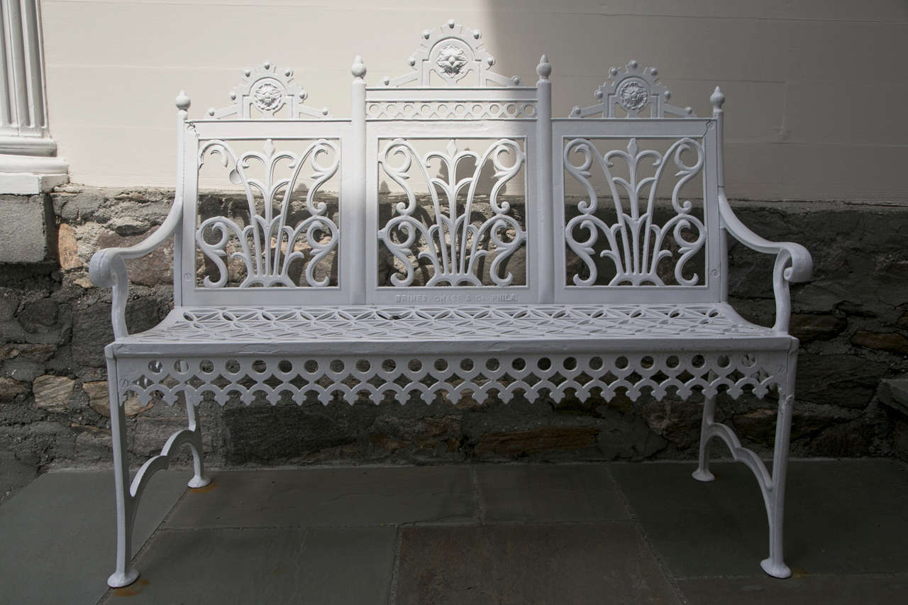 Victorian Era Cast Iron Curtain Design Garden Settee At 1stdibs