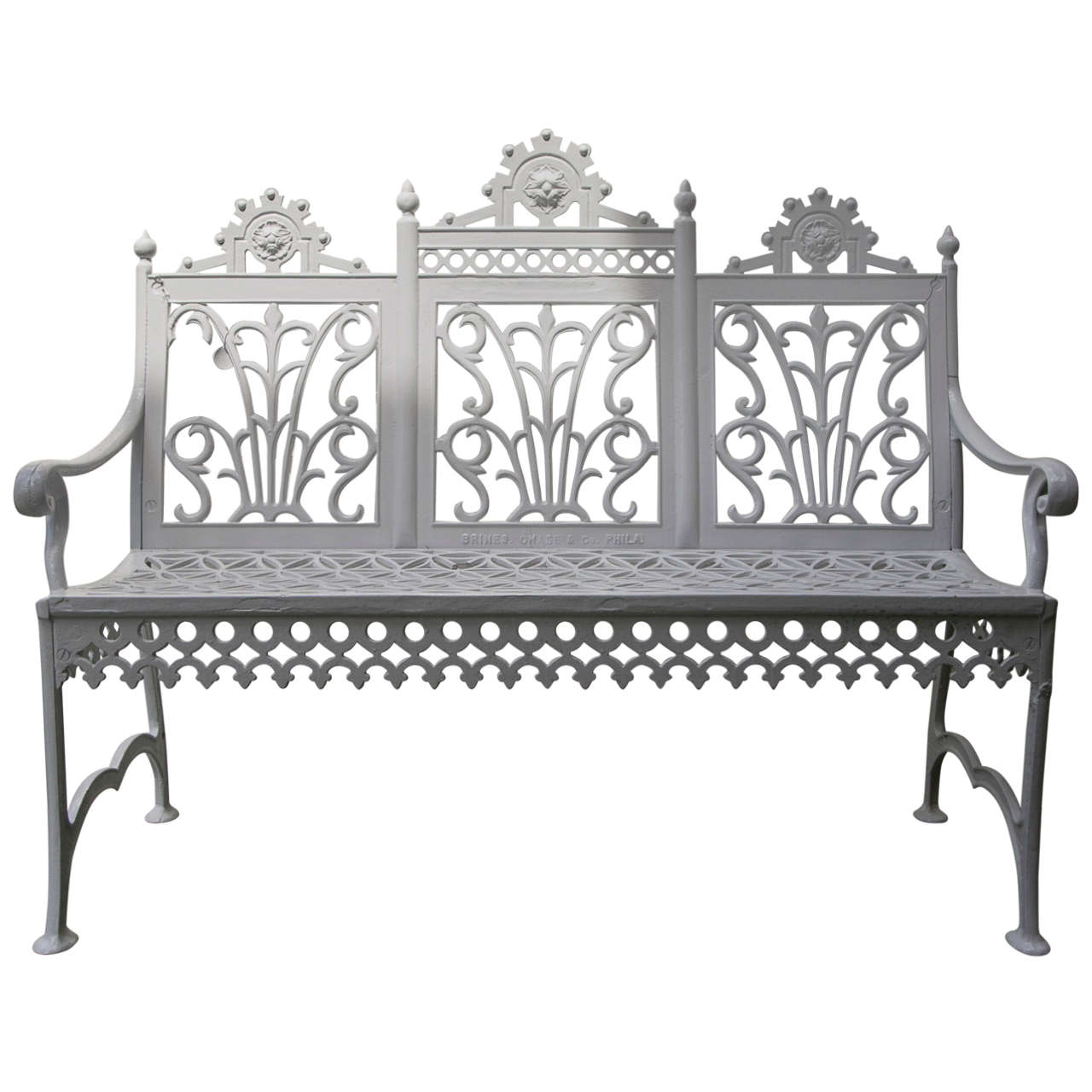 Victorian Era Cast Iron Curtain Design Garden Settee