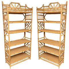Pair of Large Six Tier Vintage Bamboo and Caned Etageres