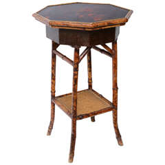 Rare 19th English Hexagonal Bamboo Sewing and Side Table