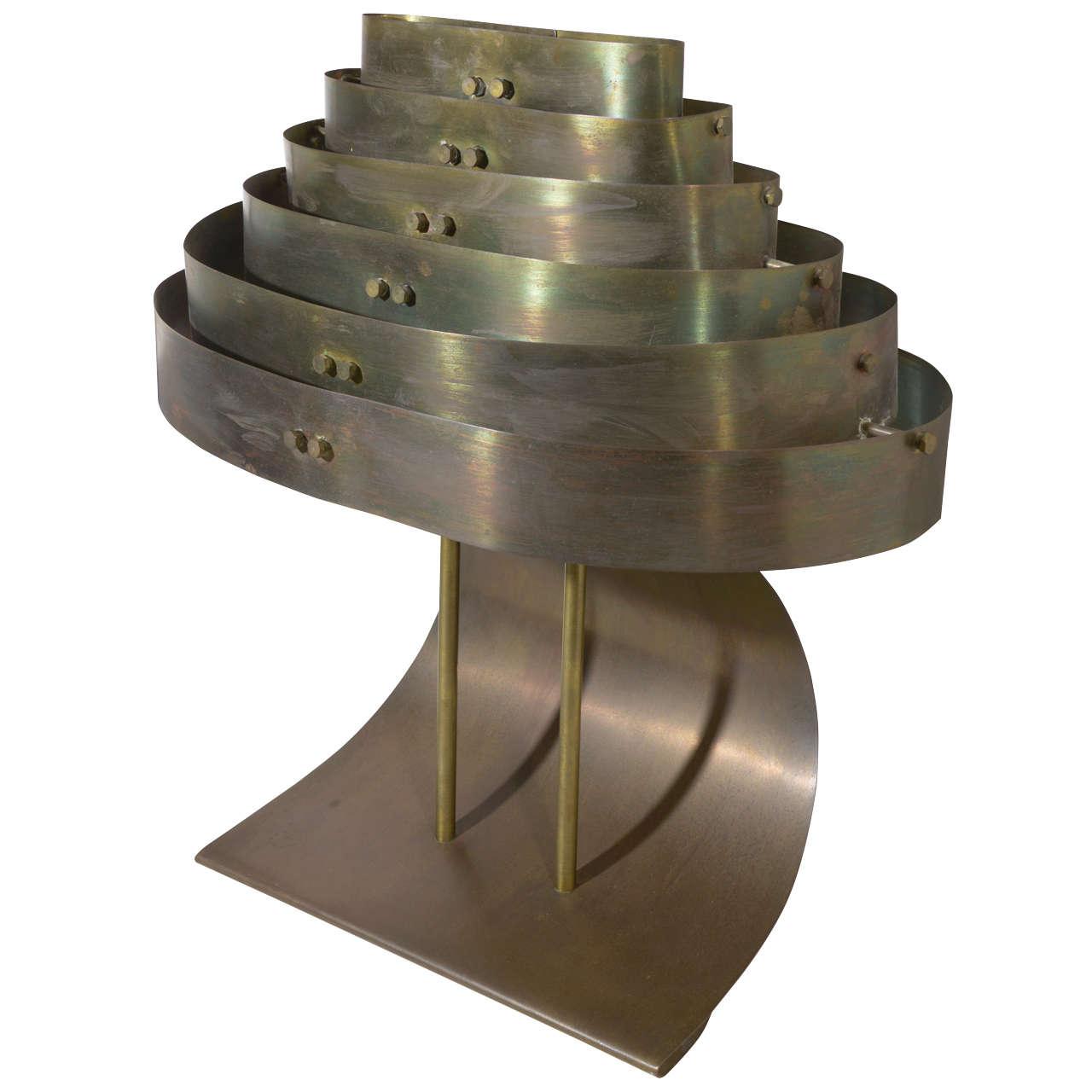 Art Deco Machine Age Kurt Versen  Bronzed Streamline Table Lamp