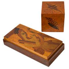 Andrew Szoeke Art Deco Mid Century Modern mixed wood Marquetry Pieces