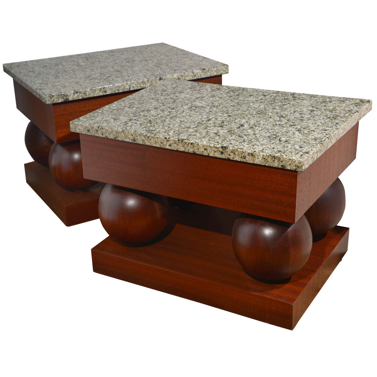 Stylish pair Modernist mid century modern mahogany and granite end tables