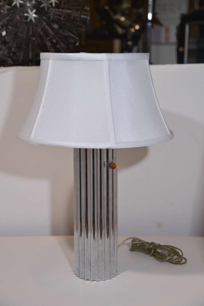 Glass Machine Age Art Deco Pair Von Nessen, Nessen Studio Fluted Chrome Table Lamps For Sale