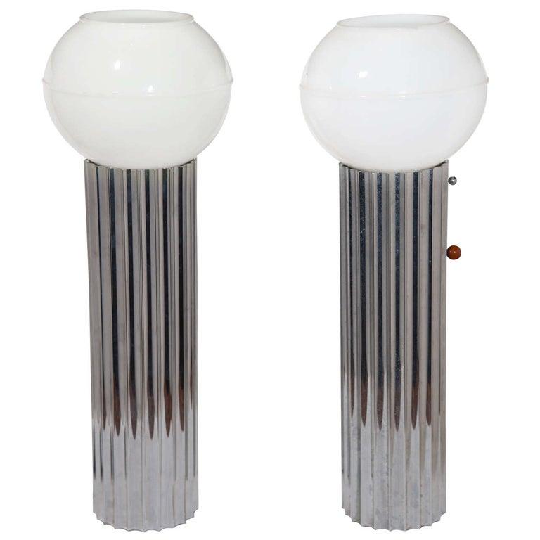 Machine Age Art Deco Pair Von Nessen, Nessen Studio Fluted Chrome Table Lamps For Sale