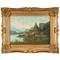 Continental School, Framed Oil Painting of a Lakeside Cabin Scene