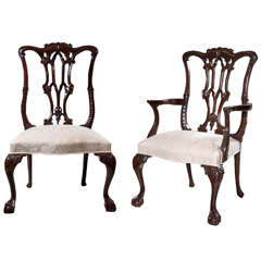 Harpback Chippendale Style Dining Chairs
