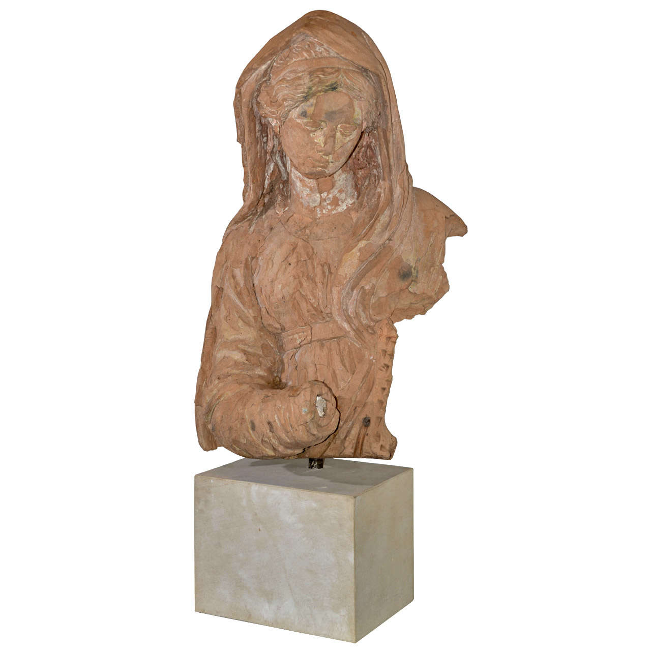 French 18th Century Terra Cotta Large Madonna Fragment