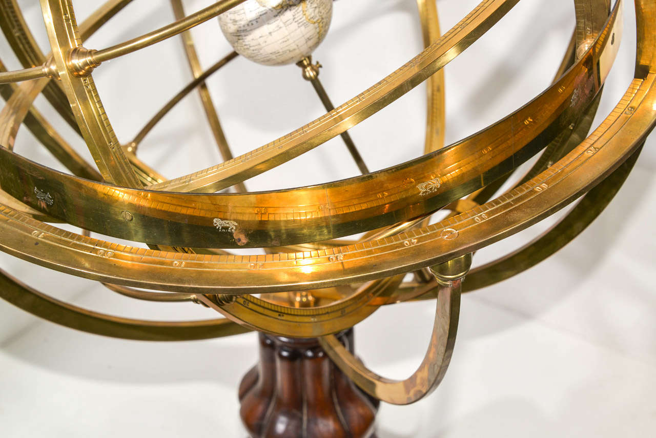 Victorian style brass and wood armillary sphere at 1stdibs