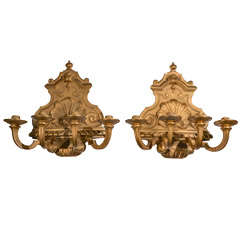 Pair of Continental Bronze Dore Candle Sconces