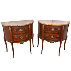 Pair of Louis XVI Style Demilune Commodes.