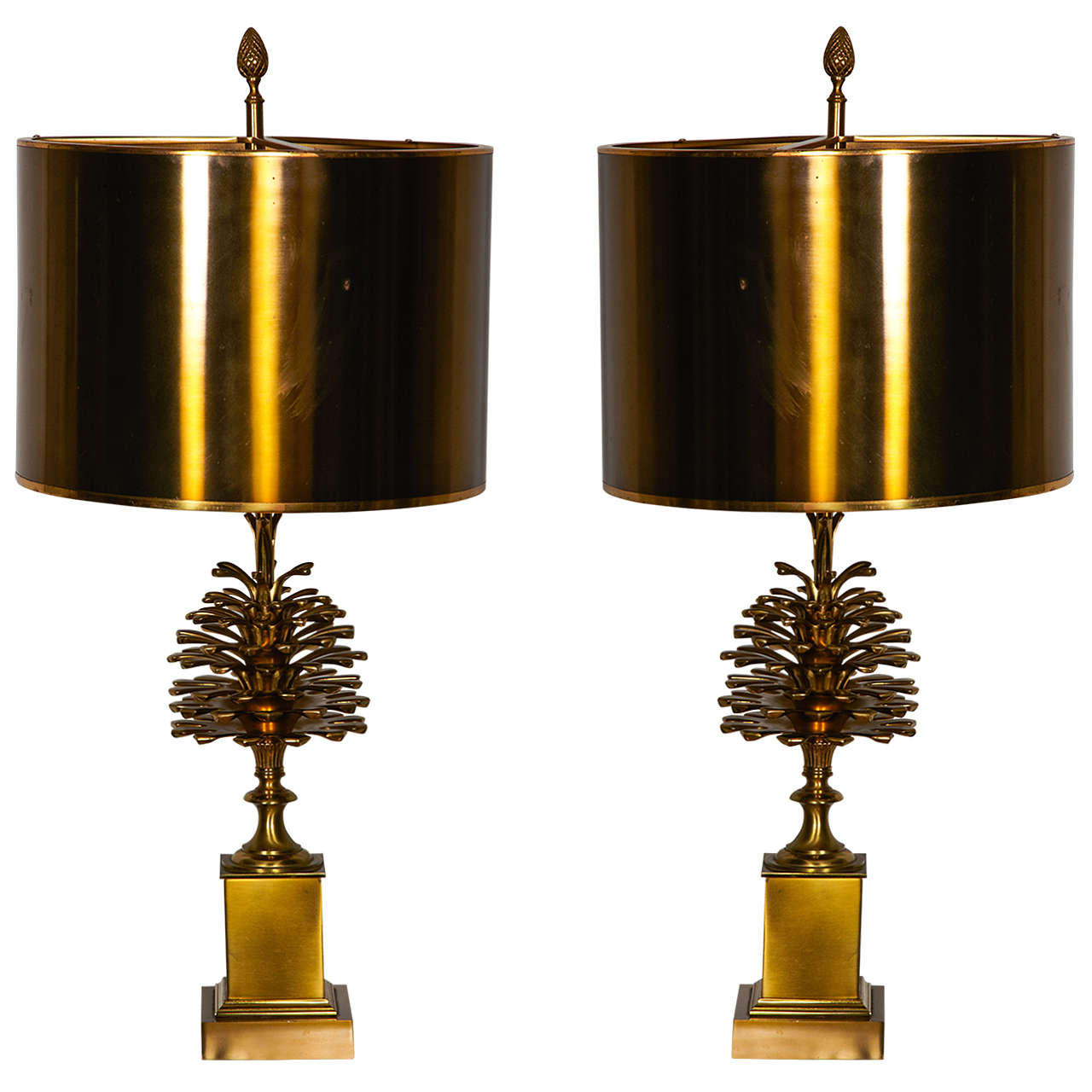 Awesome Pair Of 1970 39 S Bronze Lamps By Maison Charles At
