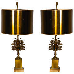 Awesome Pair of 1970s Bronze Lamps by Maison Charles