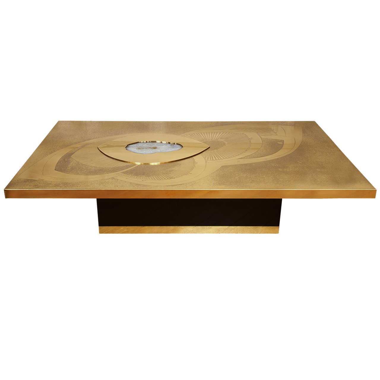 Awesome Etched Brass Cocktail Table By Willy Daro 1