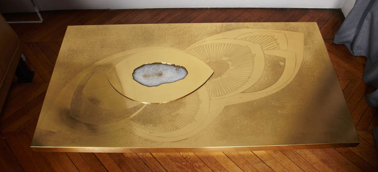Awesome Etched Brass Cocktail Table By Willy Daro 3
