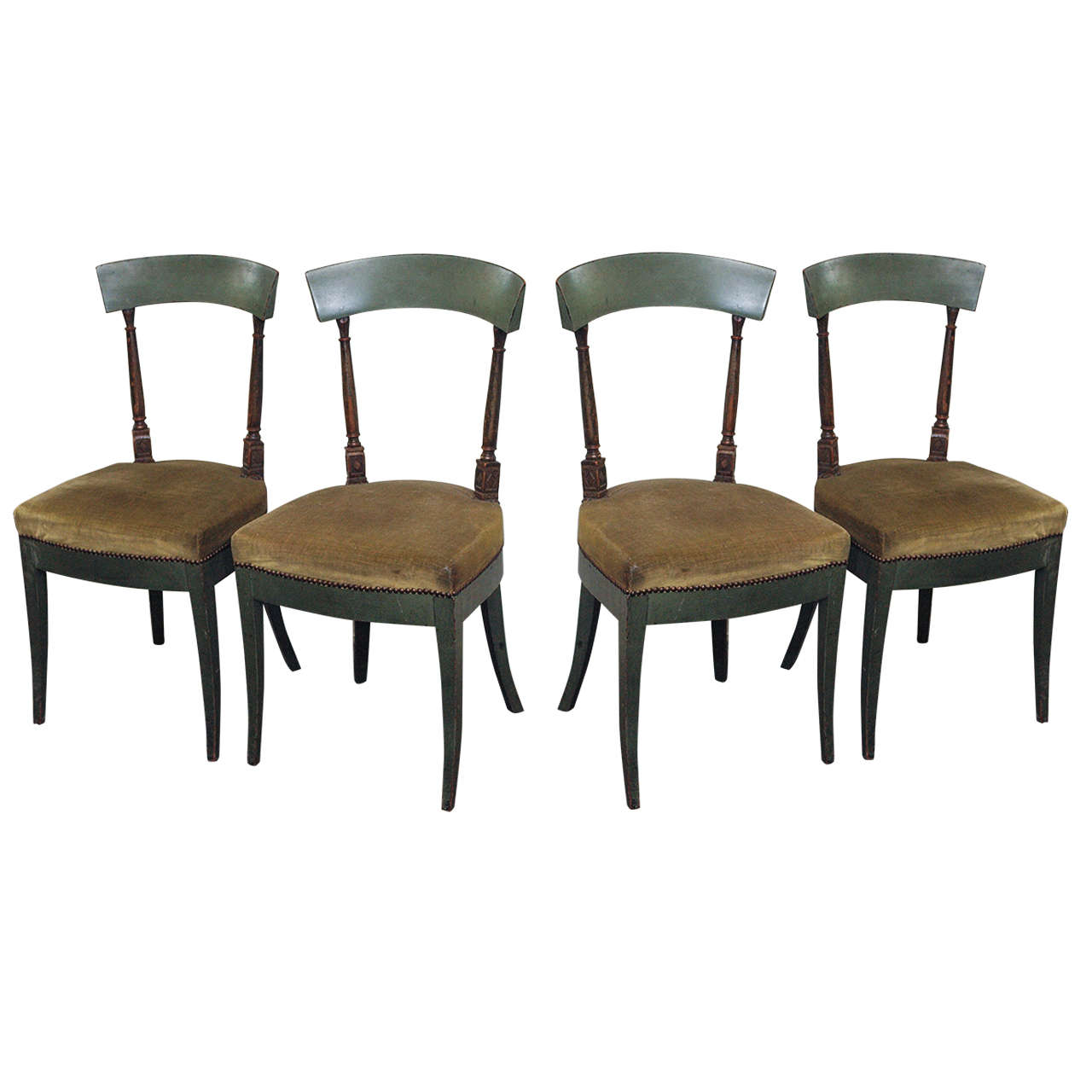 painted wood dining chairs upholstered seats nailheads at 1stdibs