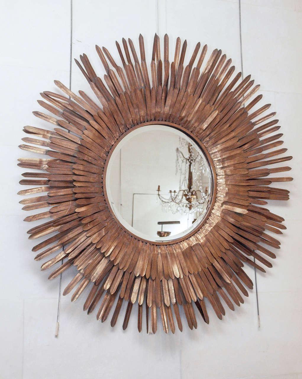 20th Century Italian Sunburst Gilt Metal Beveled Mirror 2