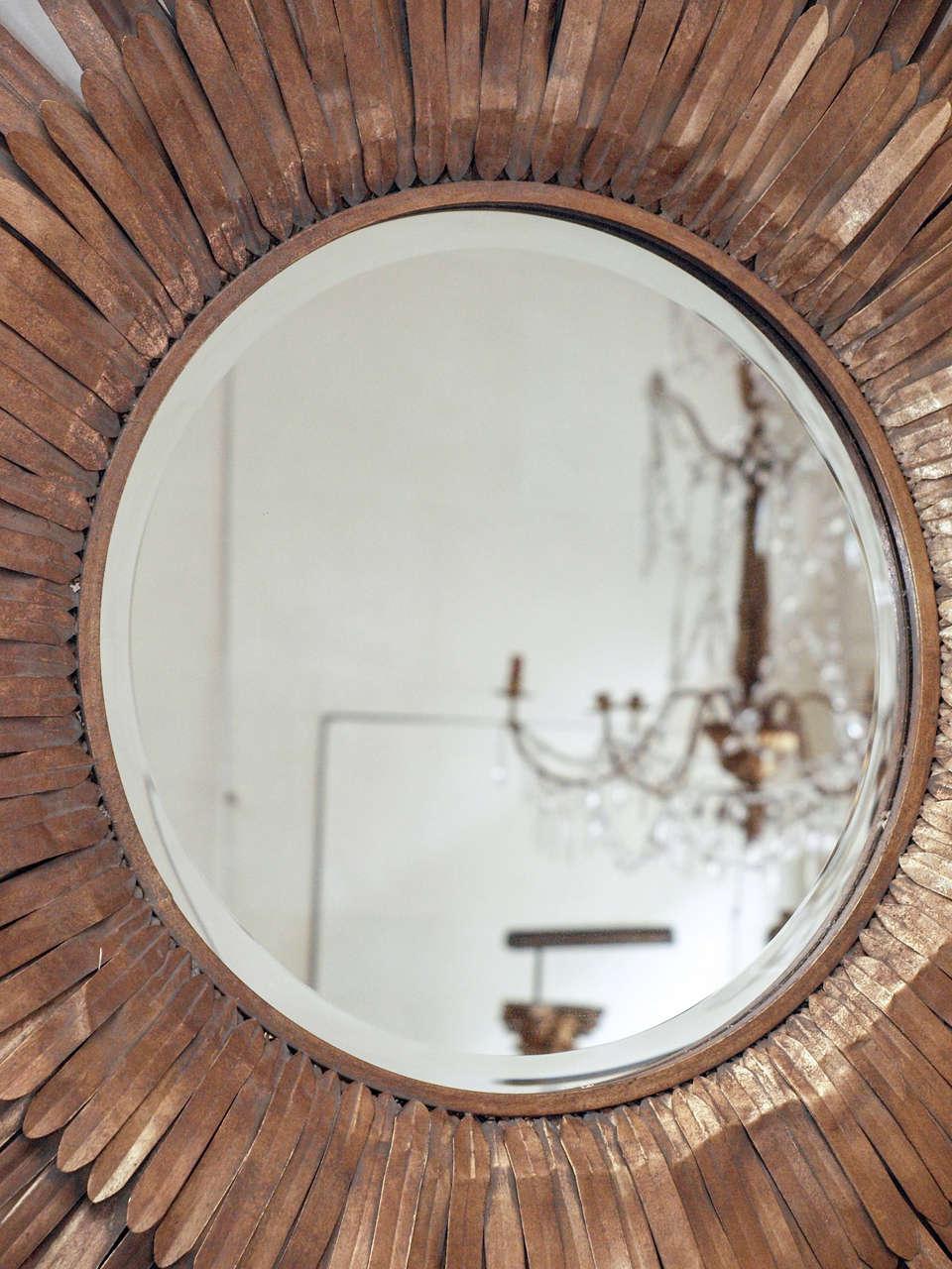 20th Century Italian Sunburst Gilt Metal Beveled Mirror 3
