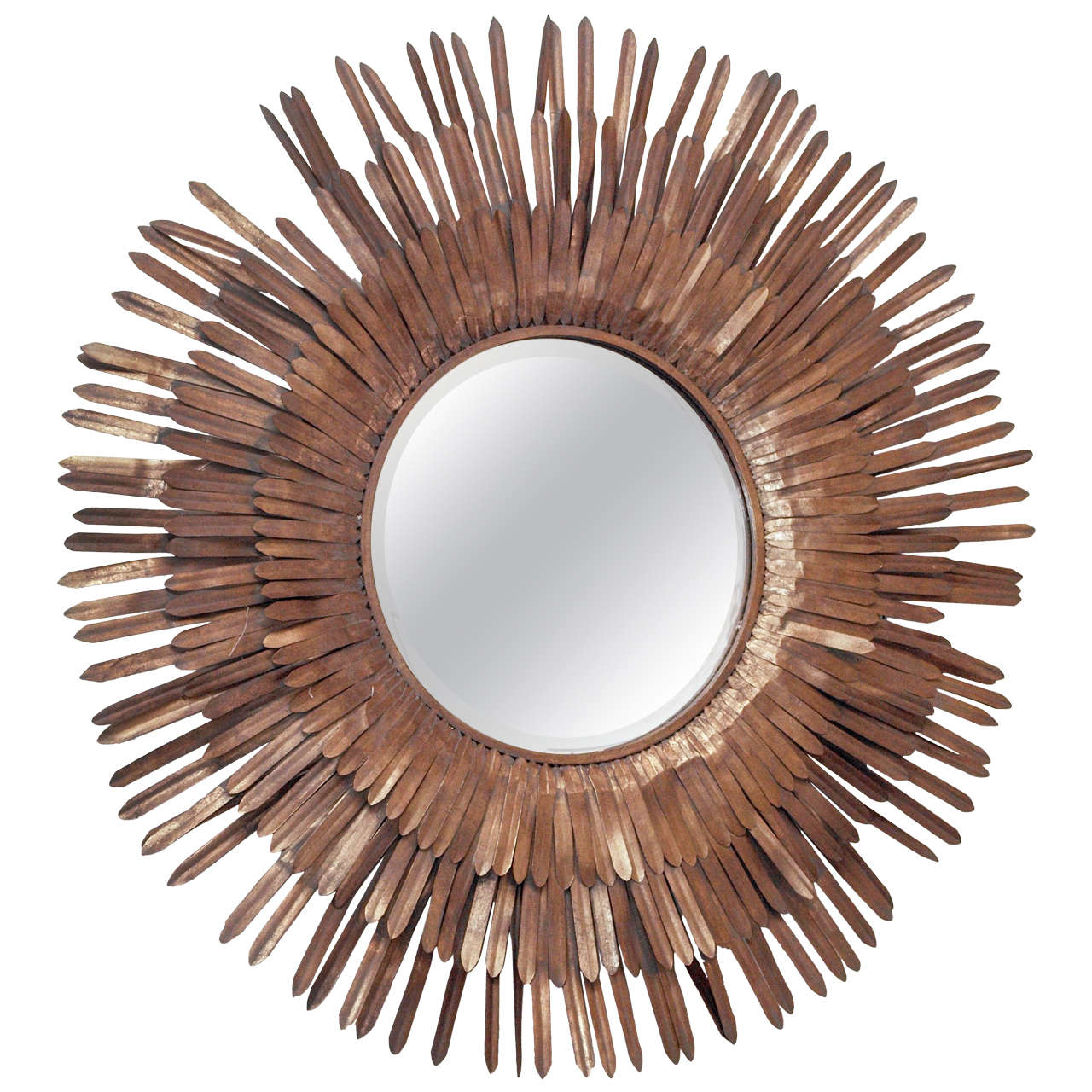 20th Century Italian Sunburst Gilt Metal Beveled Mirror 1