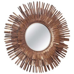 20th Century Italian Sunburst Gilt Metal Beveled Mirror