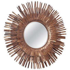 20th Century Italian Sunburst Gilt Metal Beveled Mirror