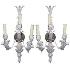 Pair of 1930s Bagues Zinc Sconces