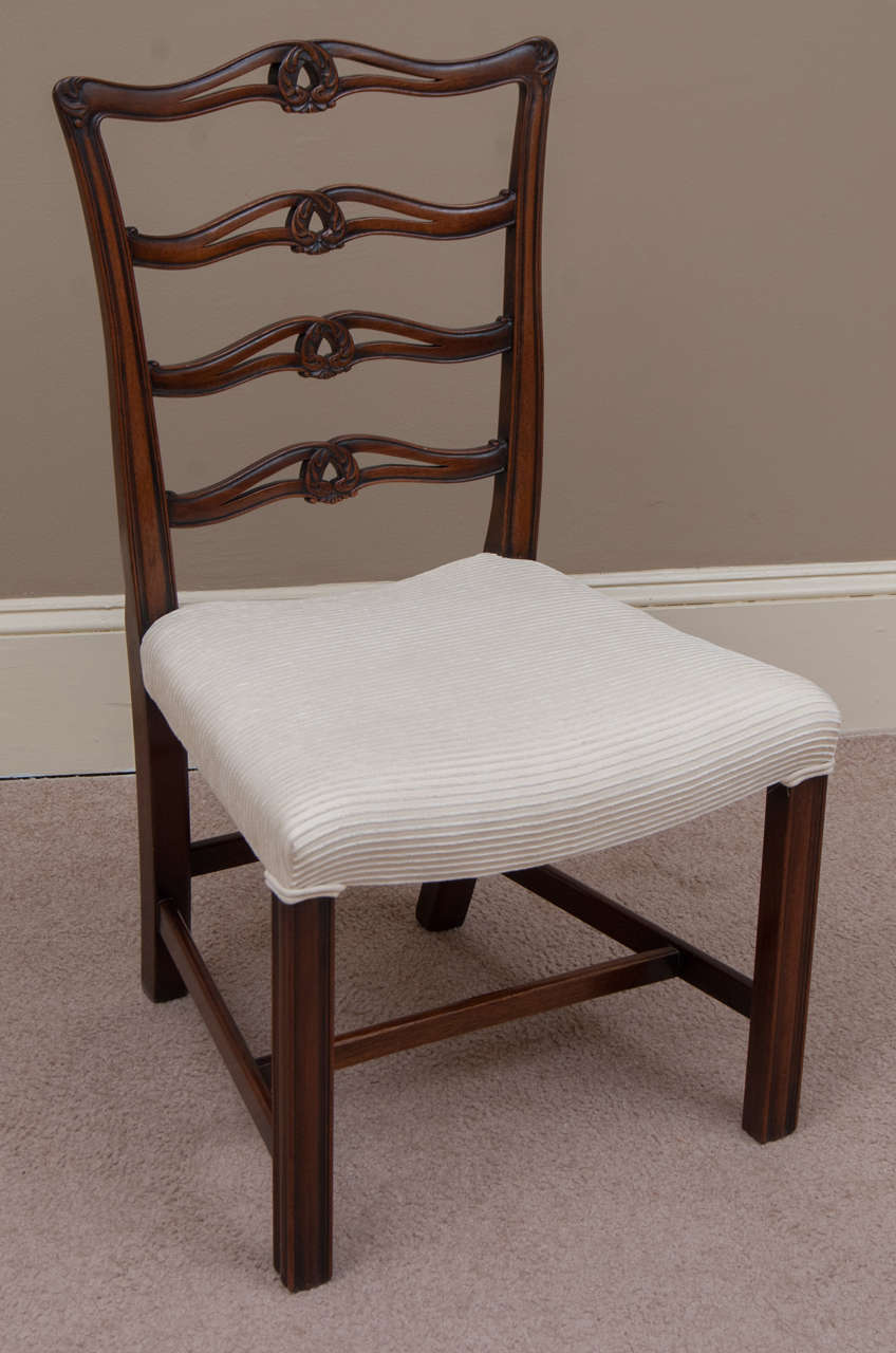 Set of 8 chippendale style ladder back chairs at 1stdibs
