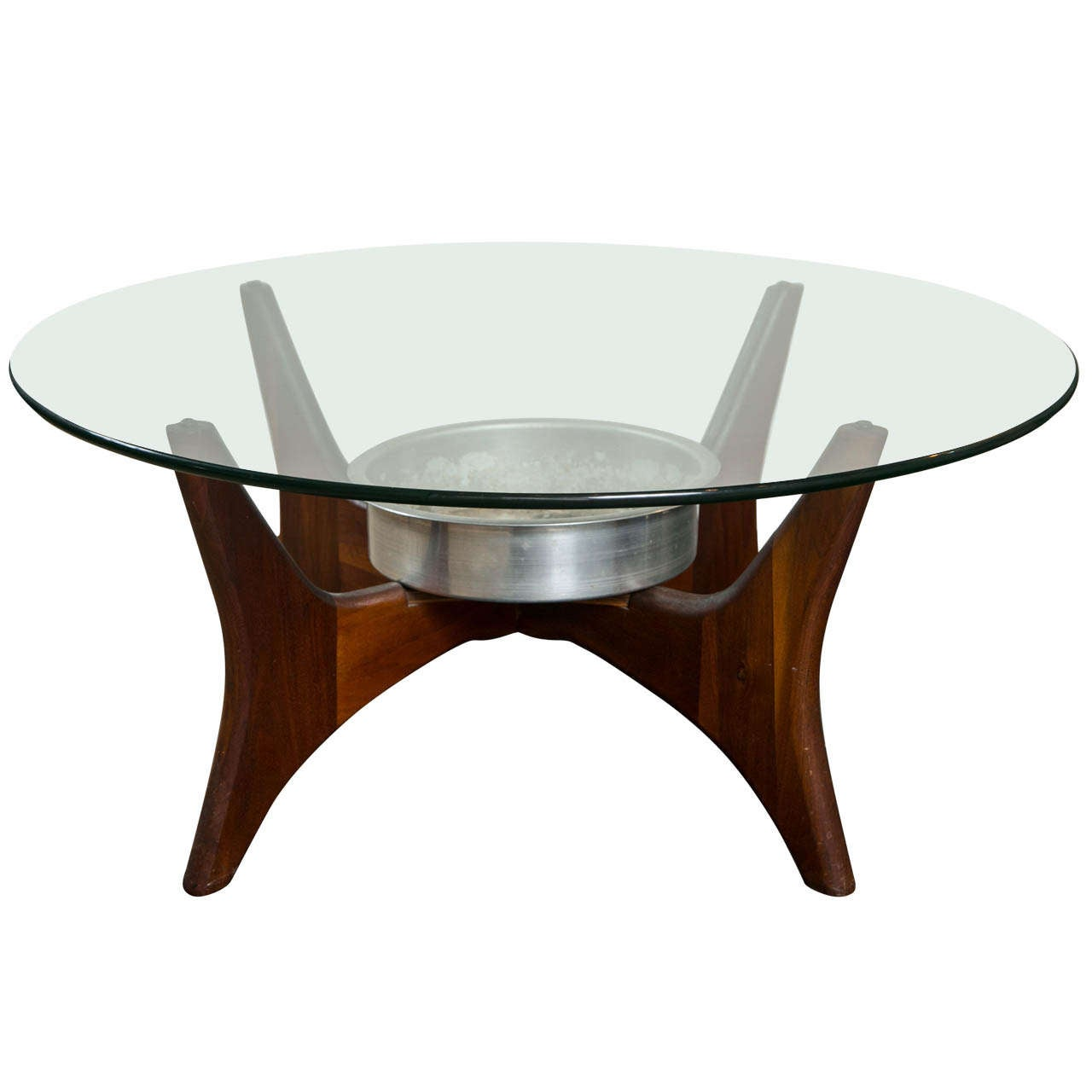 Mid-century Coffee Table Signed Round Adrian Pearsall At