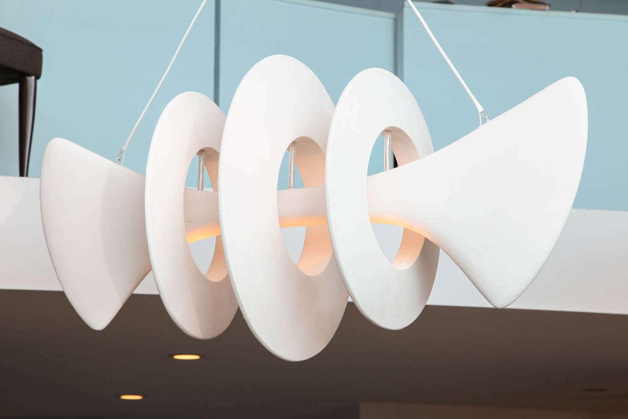 Mid-Century Modern Bones, Studio-Built Ceiling Fixture by Alexandre Logé For Sale