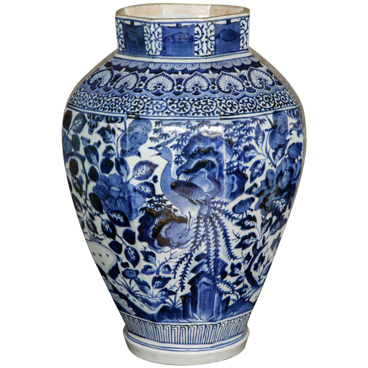 A Huge 17th Century Anese Octagonal Arita Blue White Vase Circa 1680 For