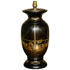 Large Japanese Black Lacquer Table Lamp, Meiji