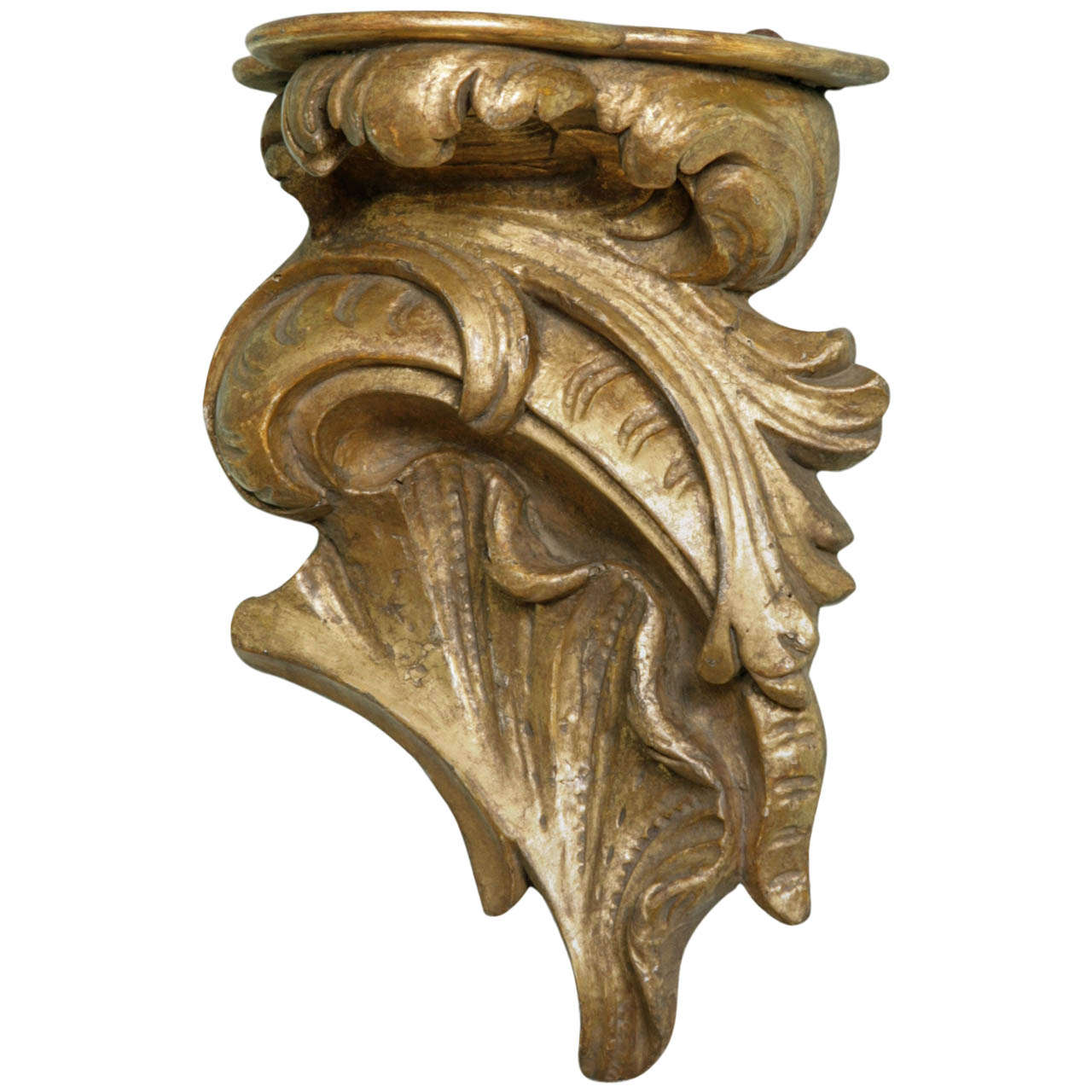 18th Century Carved and Gilt Wood Continental Rococo Wall Bracket