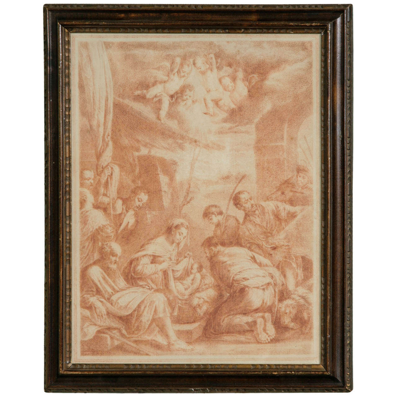 18th Century Italian Red Chalk Drawing 'Adoration of the Shepherds'