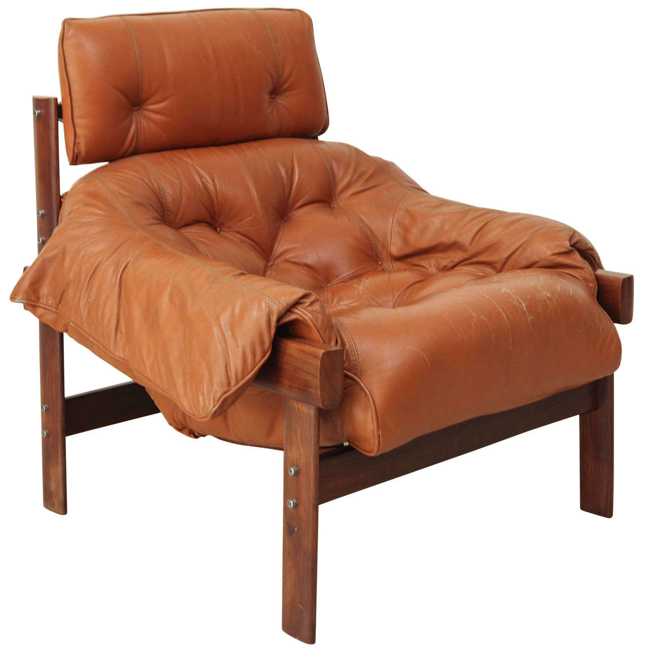 Leather Sofa Repairs Enfield: Percival Lafer Lounge Chair In Original Leather At 1stdibs