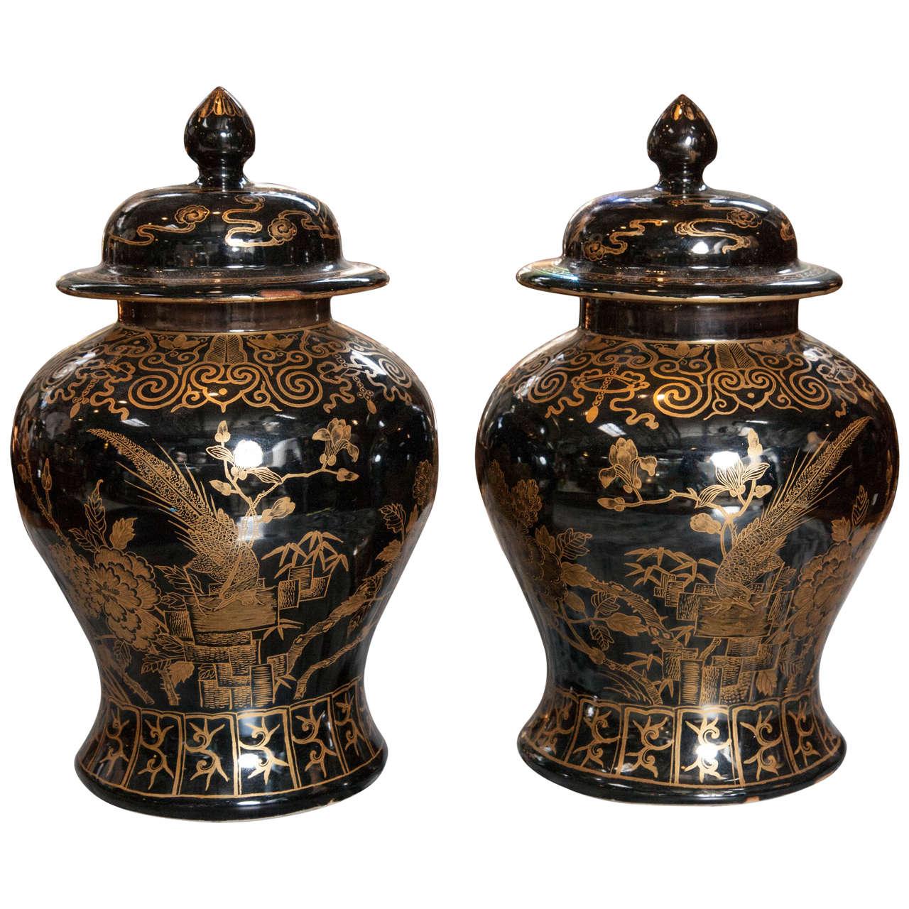 Chinese Mirror Black Ginger Jars